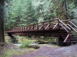 Bridge over Gray Wolf River at Slab Camp Trail