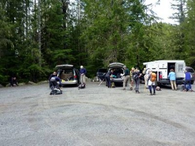 3 carloads of hikers started at Slab Camp parking lot. - JH