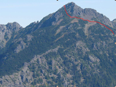 Mt. Angeles, southwest face. The route in red.