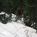 Lots of snow on trail below Silver Lake