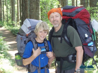 Garrett and Bret hiking the same trail in 2006