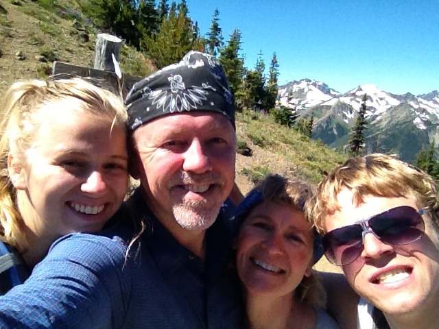 Goofy family photo on Marmot Pass
