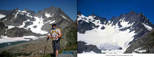 Bret on left, 2012 - Anderson Glacier ca. 1975 on right