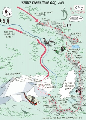 Bailey Range Traverse map - click to enlarge