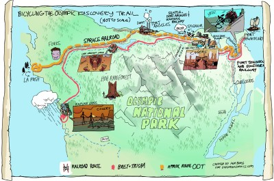 Bicycling the Olympic Discovery Trail - map by Per Berg