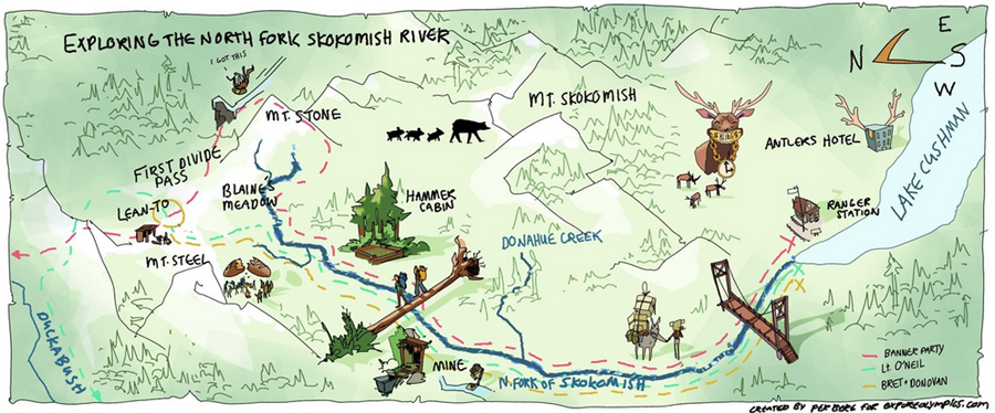 Maps and illustrations by Sequim artist Per Berg.