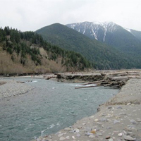 Former Lake Mills soon after removal of the Elwha Dam - Olympic National Park