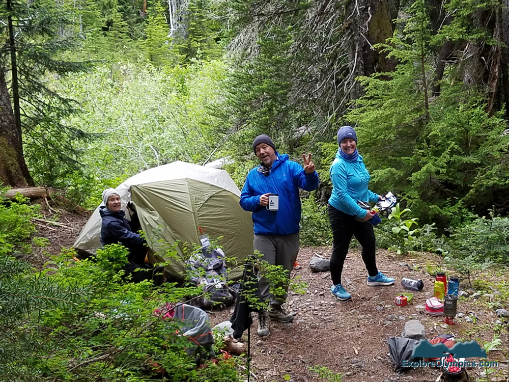 Trisha, Bret and Danae at Glacier Meadows basecamp