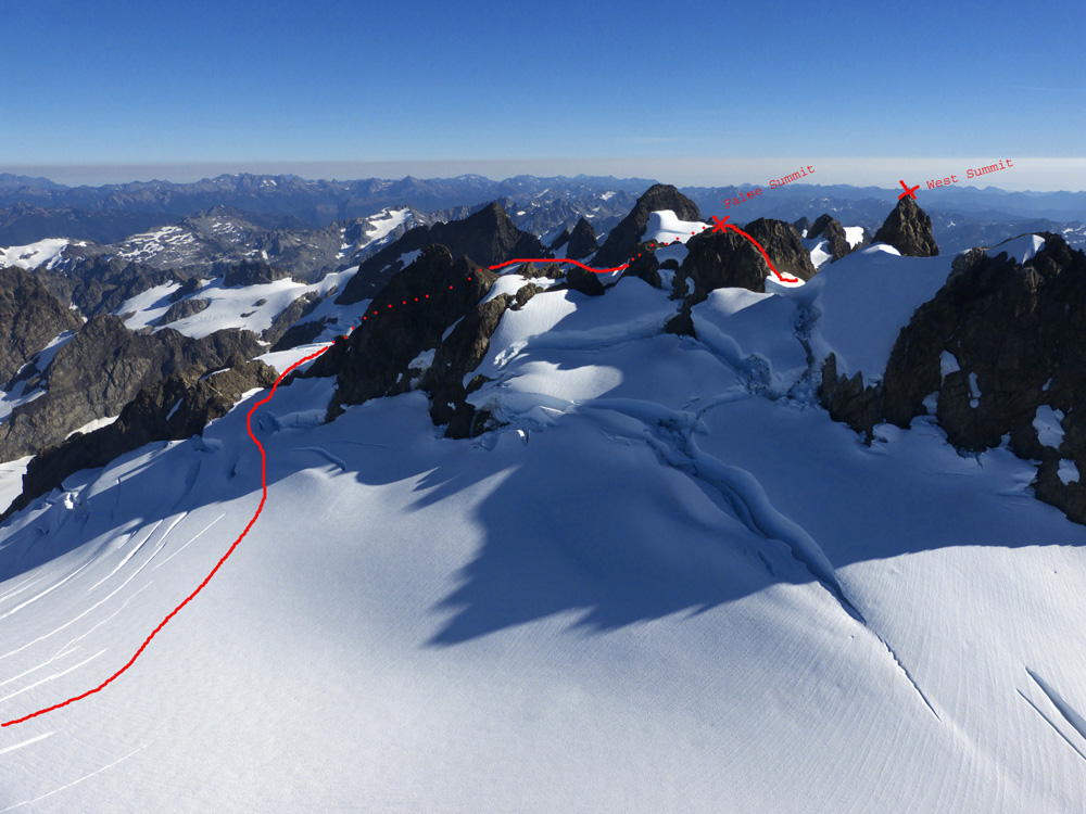 Route from Snow Dome to the summit - J Gussman photo