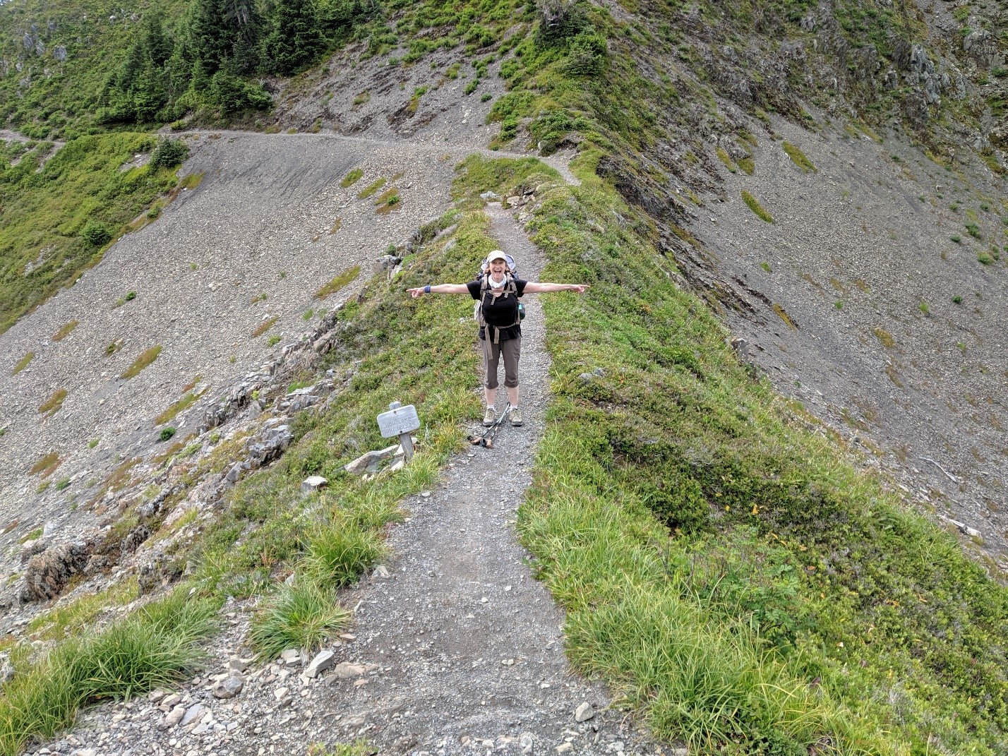 Trisha Wirta walking on a trail separating Bgoachiel and the Hoh rain forest.