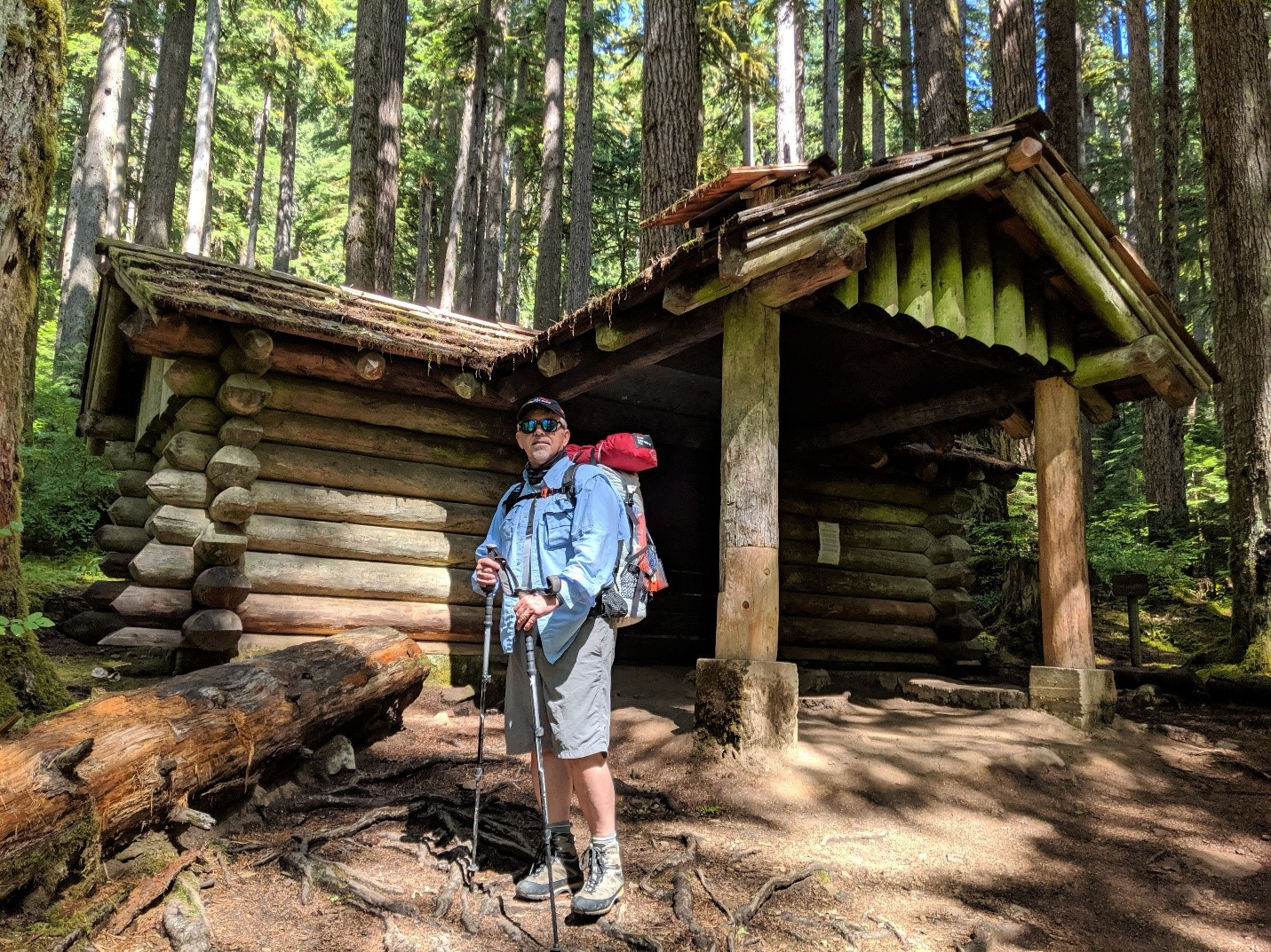 Bret Wirta standing in front of the Canyon Creek Shelter