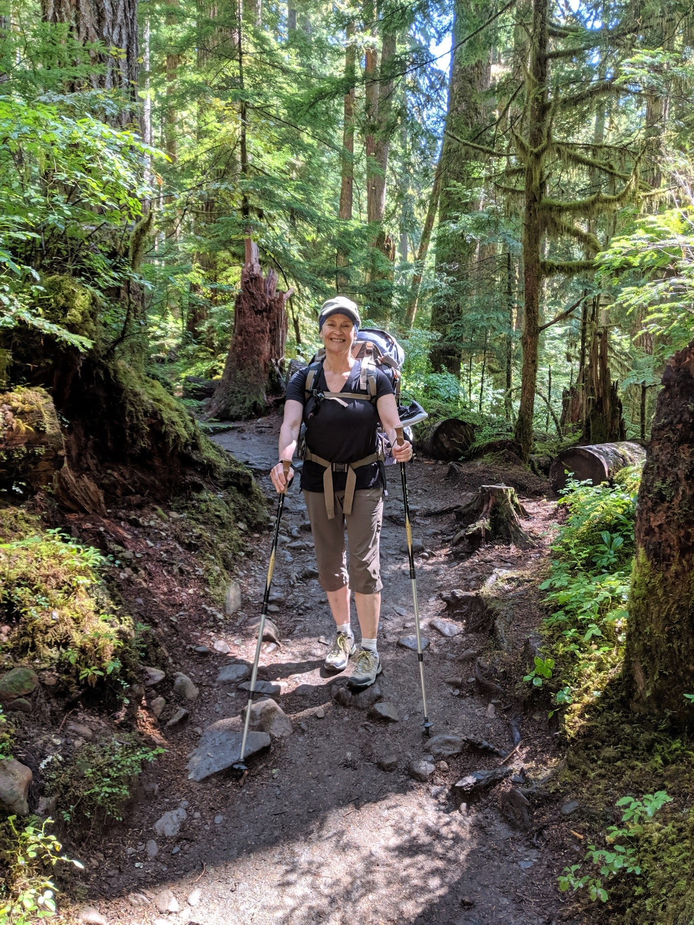 Trisha Wirta with her hiking gear on the Sole Duck Trail.