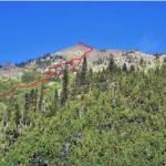 Mt. Lena from Upper Lena Lake. Route in red