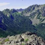 Hawk Ridge, right center and Hawk Peak, far right, from Mt. Townsend.