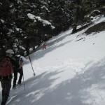 Snowshoes break trail