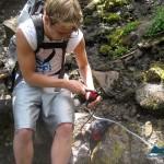 Garrett pumps some water