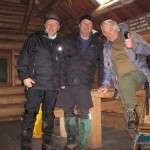 Happy in a warm cabin