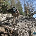 Climbing over an avalanche