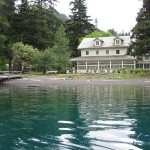 Fishing in front of Lake Crescent Lodge
