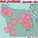 Map of seismic activity by Sequim Artist Per Berg with information from the United States Geological Survey